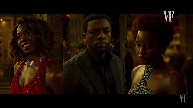 Nakia, T'Challa e Shuri de verde,preto e vermelho. Marvel Studios