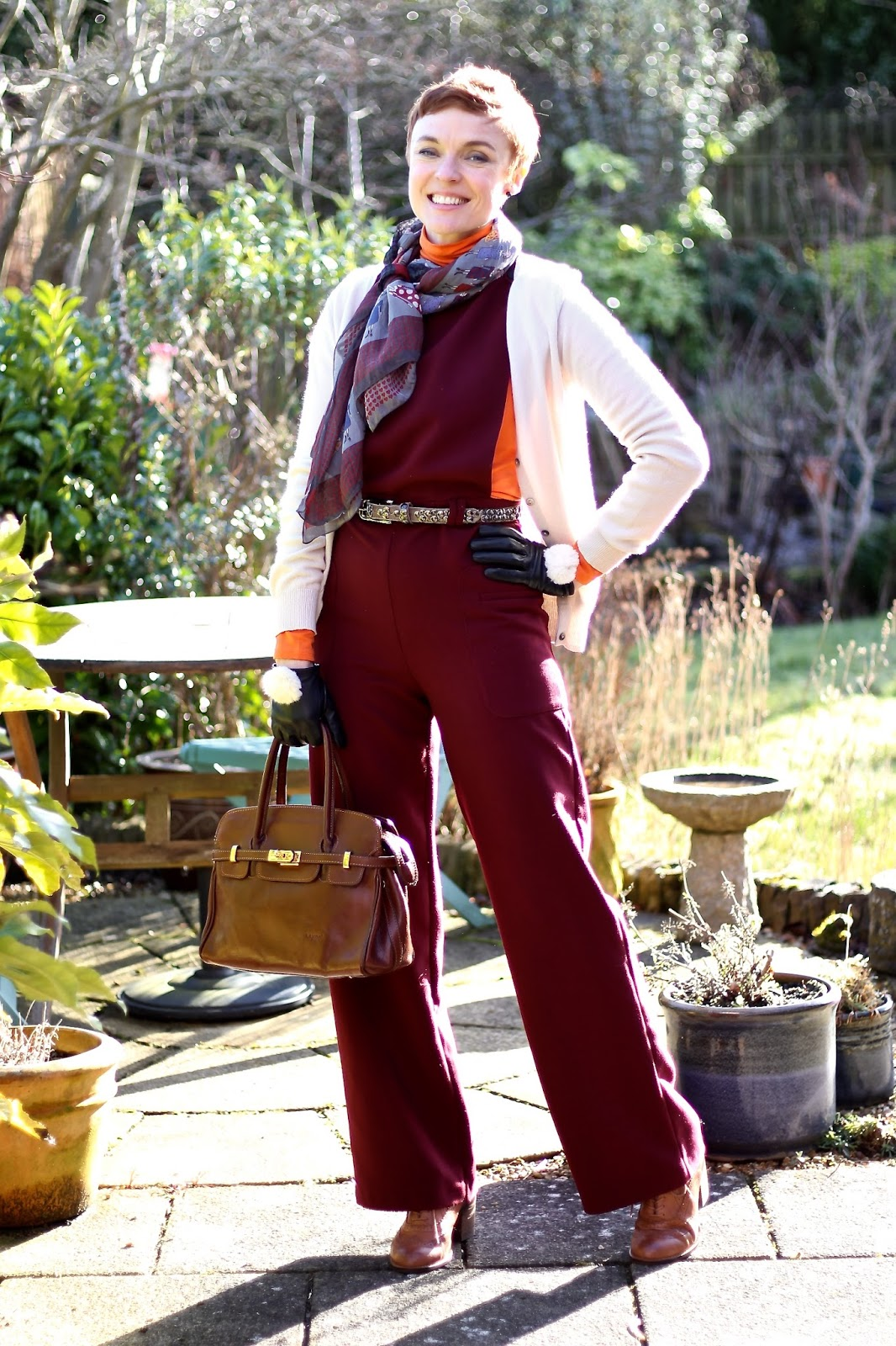 Burgundy Pinafore Jumpsuit, Orange Polo Neck & a Cosy Cardigan | Fake Fabulous