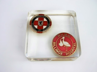 Paperweight containing Nurses badges