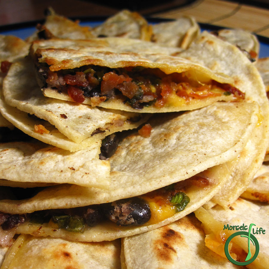 Morsels of Life - Bacon and Bean Quesadillas - Cheesy bean quesadillas flavored up with crispy bacon and green onions.