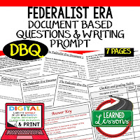 Federalist Era DBQ, Early American History DBQ, DBQ Document Based Question Writing Activity, American History Activities