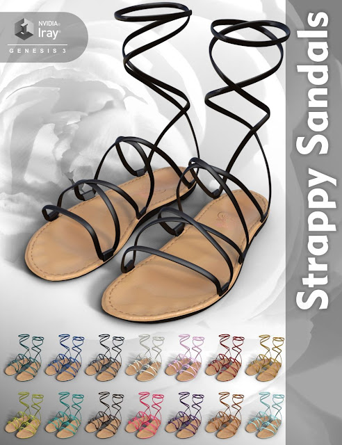 Strappy Sandals for Genesis 3 Female