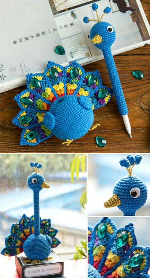 Amigurumi Peacock Pen Holder - Free Pattern