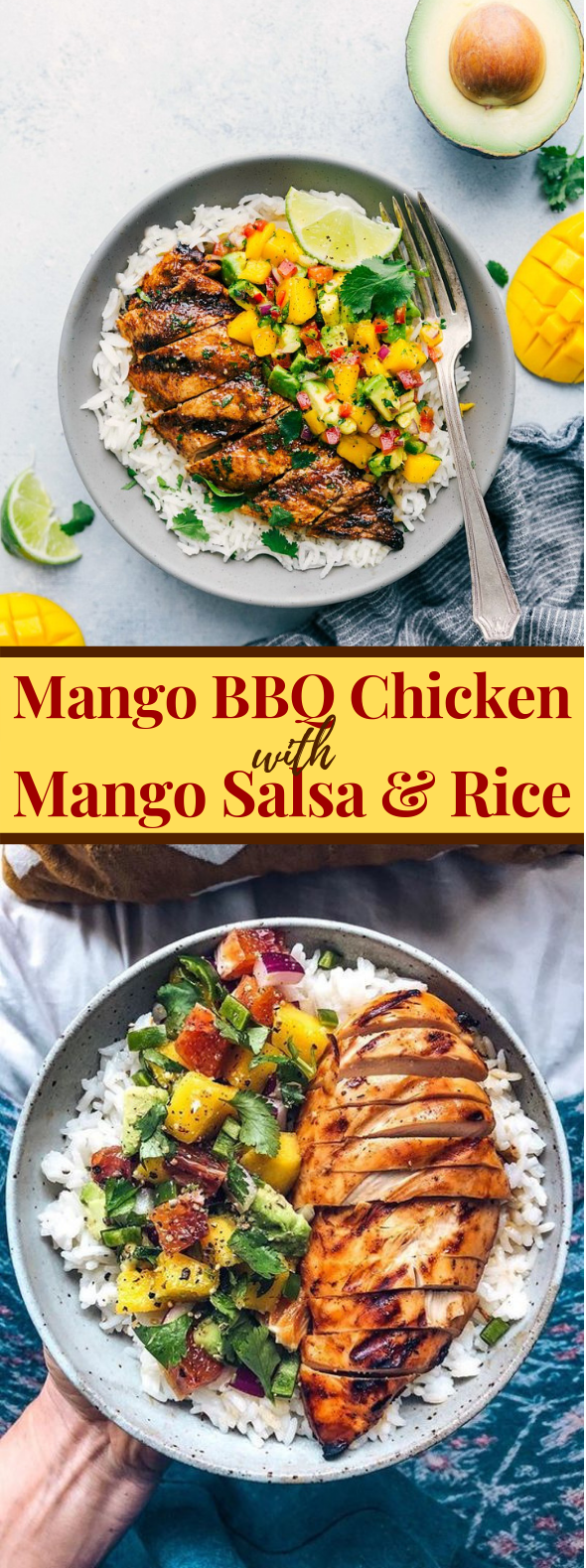 Mango BBQ Chicken with Mango Salsa and Rice #dinner #meals