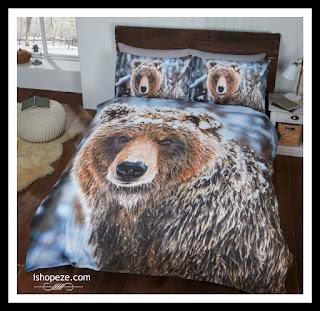 Wildlife brown bear duvet set in Sngle,