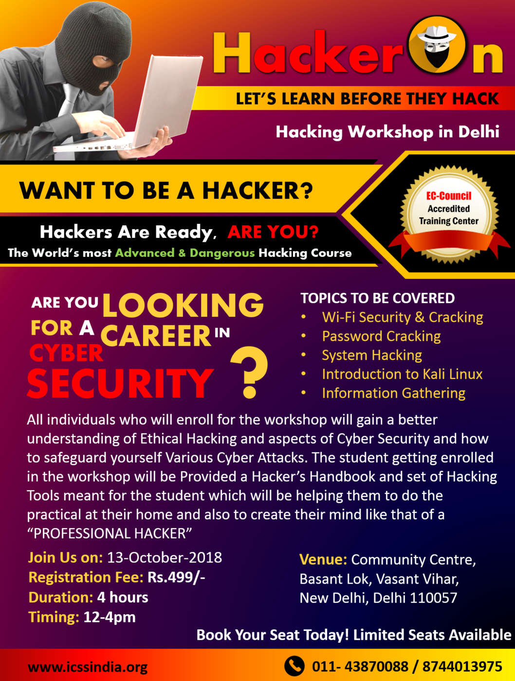 Hackeron Ethical Hacking Workshop in Delhi Provided By ICSS