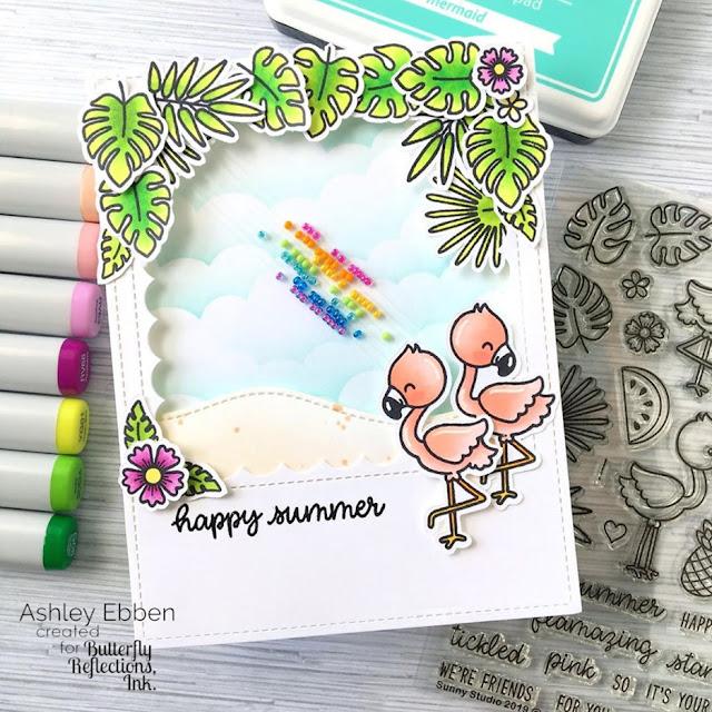 Sunny Studio Stamps: Fabulous Flamingos Shaker Card by Ashley Ebben