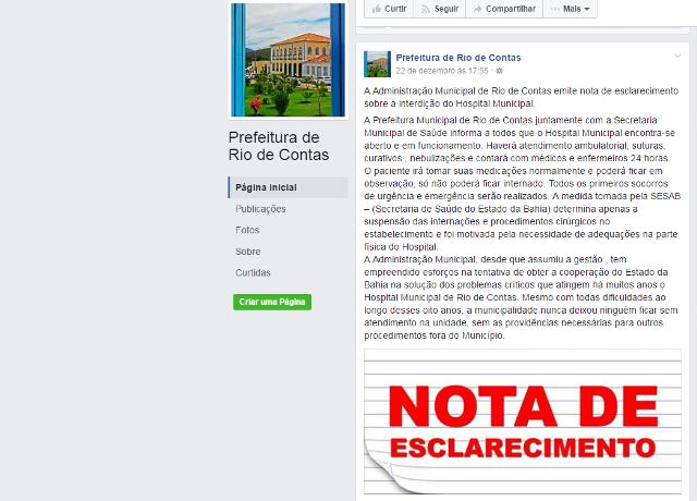 Rio de Contas: Internações e cirurgias são suspensas em hospital
