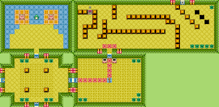 five chambers from the Gnarled Root dungeon in Oracle of Seasons, where two of the rooms form one big one