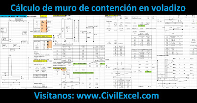 Cálculo, diseño de muro de contención en voladizo