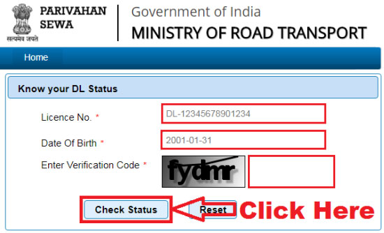 how to check driving license status online