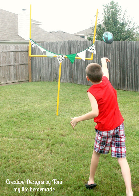 Description: Create scaled-down football goal posts to use in games in your own backyard! Difficulty (on a scale of 1 - 3 hammers): Time: about 1 hour once you have the materials and tools. Supplies: Cut one length of 10' pipe into two 5' sections. Cut a second length of 10' pipe into one 6' section and two 2' sections. Repeat.