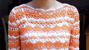 Exquisita blusa en dos colores al crochet