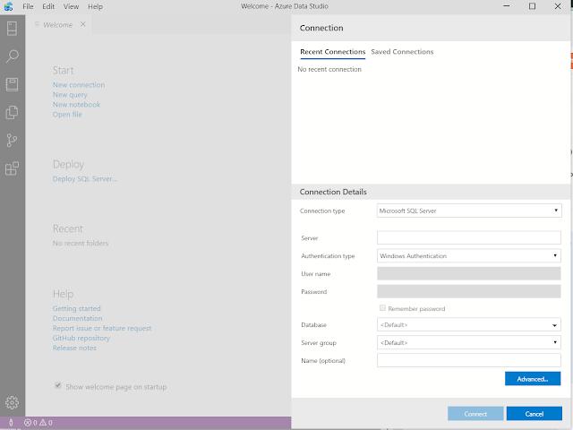 Azuer Data Studio welcome screen