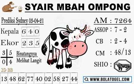 Syair Mbah Ompong Sydney Sabtu 03-Apr-2021