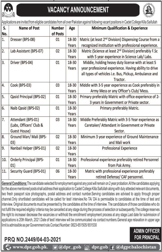 Pakistan Army Cadet College Jobs 2021 in Killa Saifullah