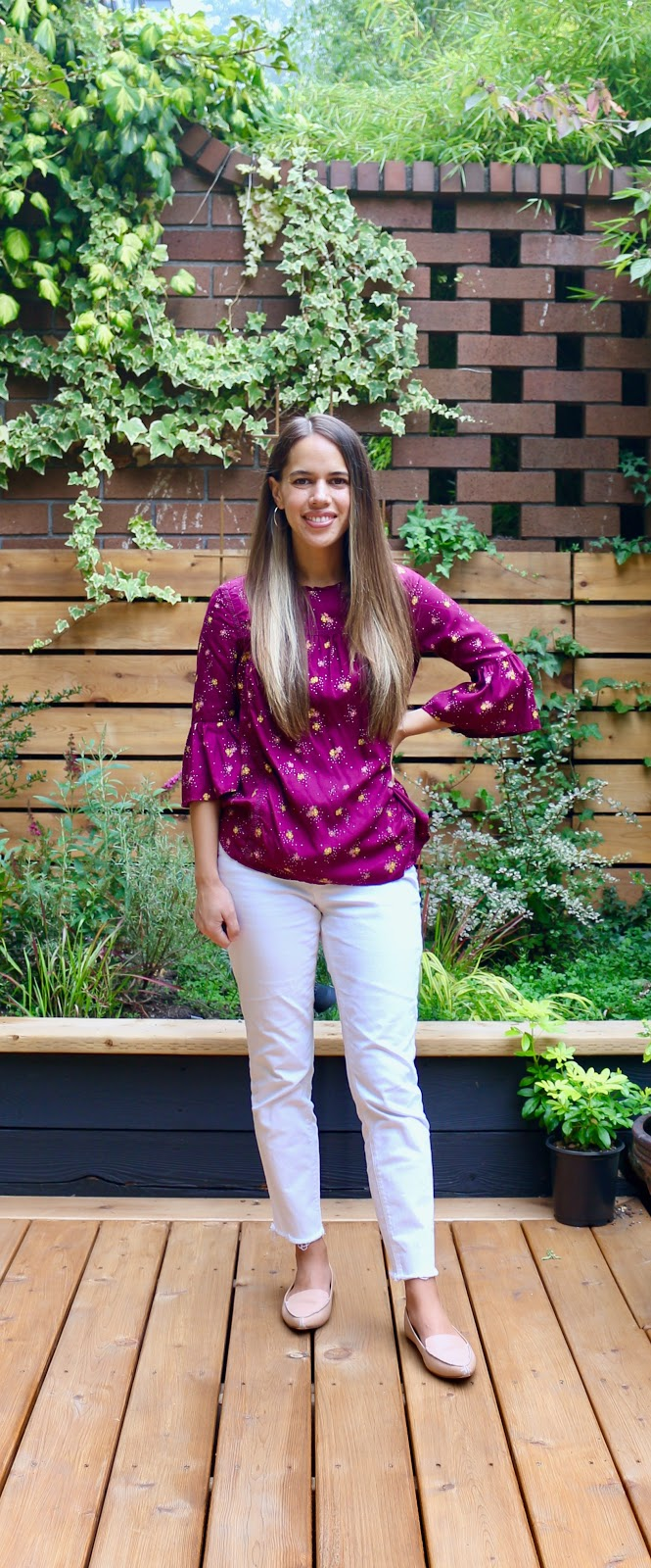 Jules in Flats - Burgundy Floral Top with White Jeans (Business Casual Workwear on a Budget)
