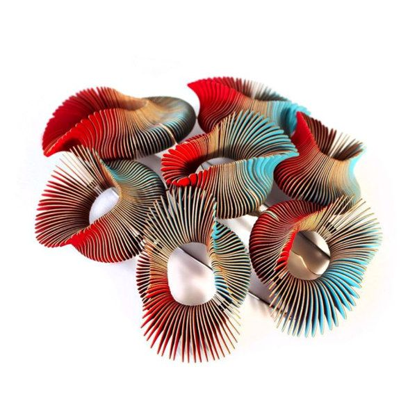 multicolor modern art layered paper brooch