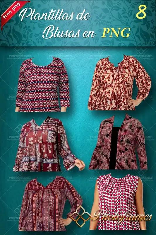 Seis blusas de mujer para hacer fotomontajes