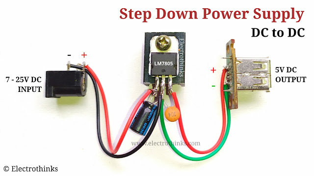 DC to DC, 5V Step down Power supply, with 7805
