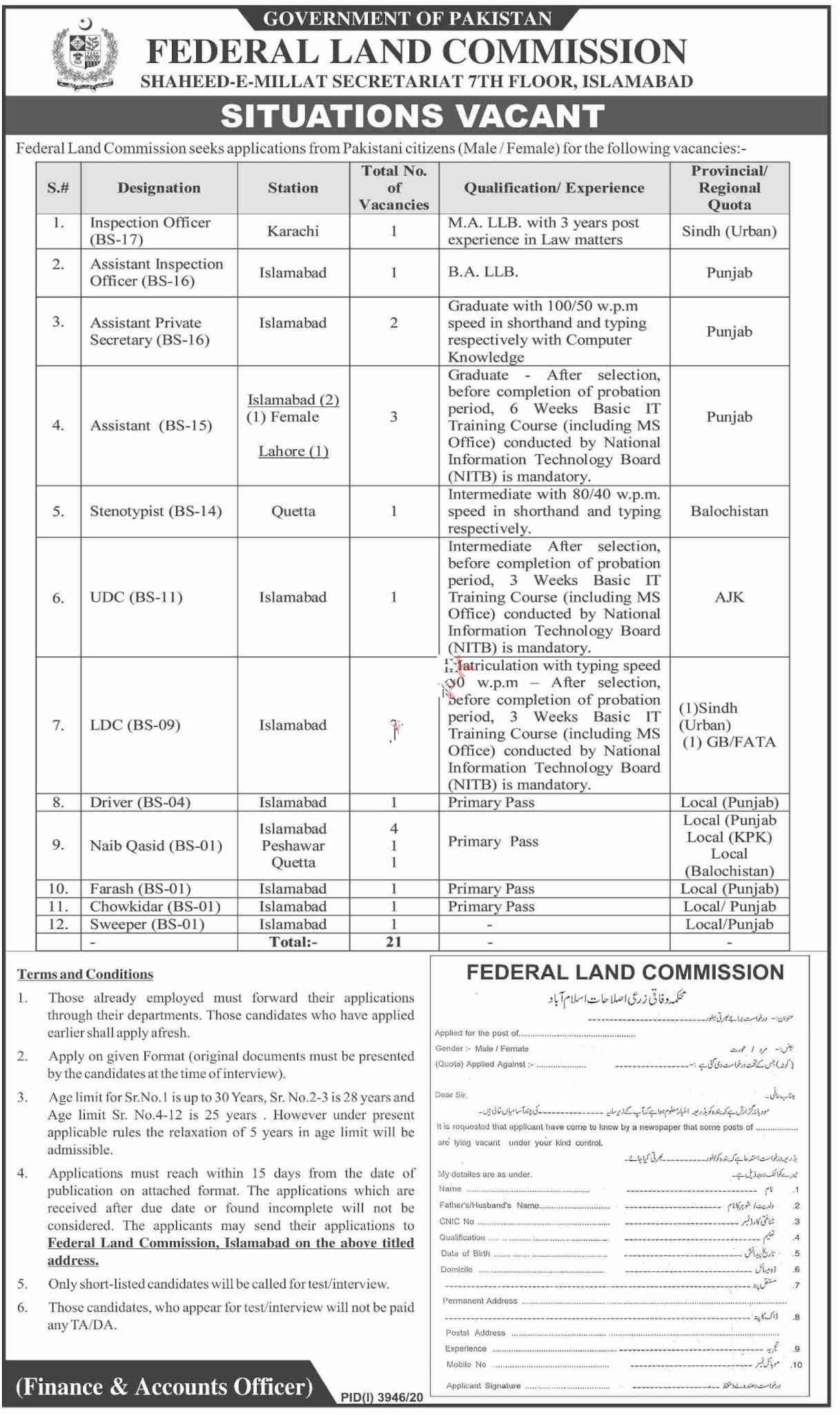 Federal Land Commission Jobs 2021 For Inspection Officer, Assistant Inspection Officer, Stenotypist, UDC, LDC & more