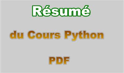 Résumé du Cours de Langage Python PDF