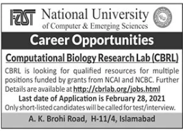Computational Biology Research Lab CBRL Jobs 2021 in Islamabad