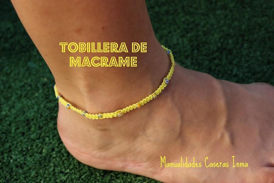 Manualidades caseras Inma Tobillera de macrame color amarillo