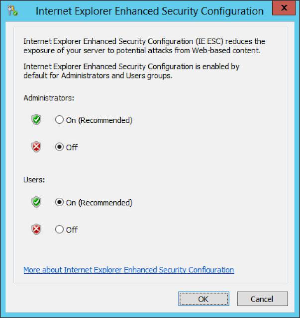 تكوين إعدادات الأمان IE
