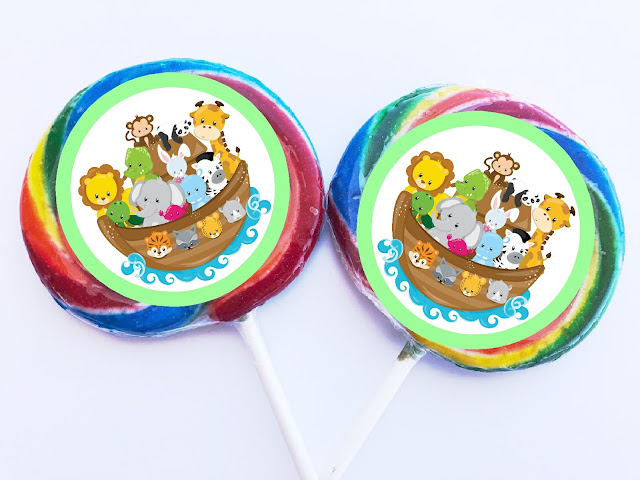 Enjoy some animal fun at your next birthday party or baby shower with this fun Noah's Ark party theme. These printable Noah's Ark cupcake toppers can be used for decorating your party cupcakes, your invitation envelopes, whirly pop suckers, or any party decoration that you need. Be sure to save this free printable and check out the other coordinating Noah's Ark party printables.
