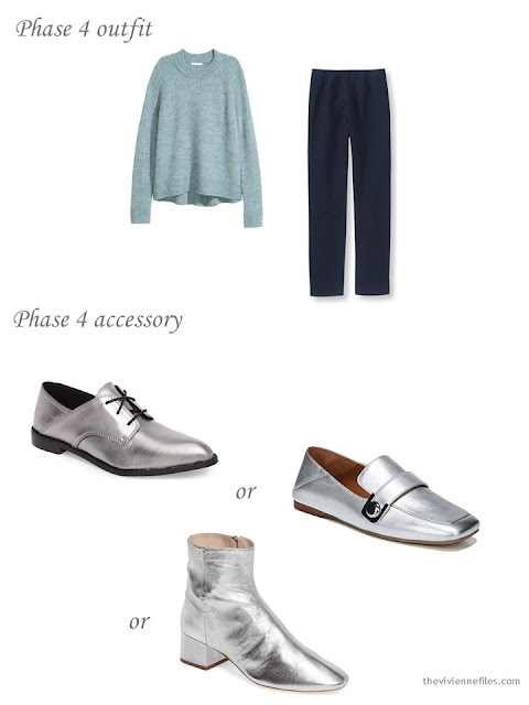 adding silver shoes to a 4 by 4 Wardrobe in Navy with floral accents
