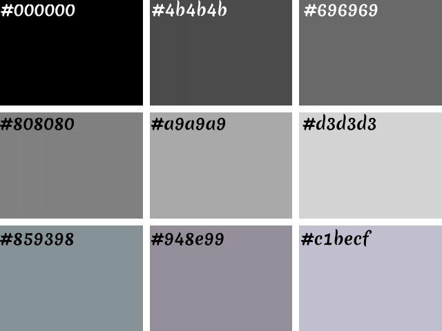 tabela de cores preto e cinzas