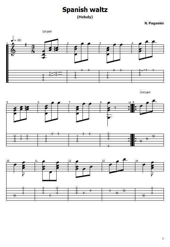 Spanish Waltz Tabs Niccolo Paganini. How To Play Spanish Waltz On Guitar Free Tabs/ Sheet Music. Niccolo Paganini. Spanish Waltz / Classical Guitar