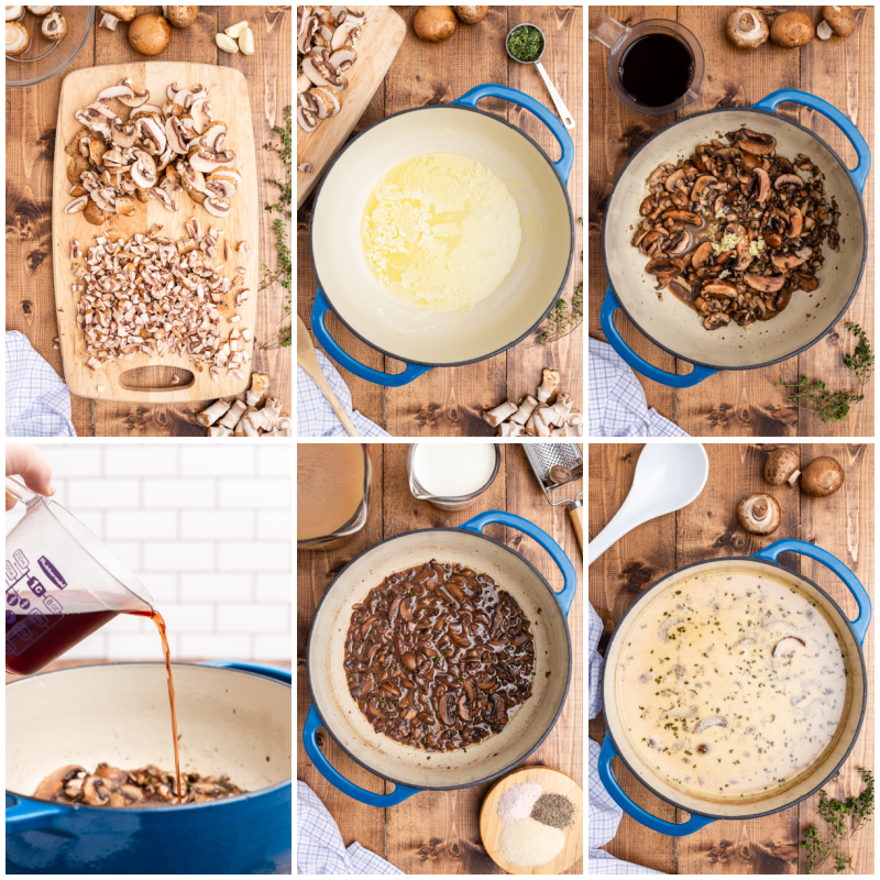 Six photos of the process of making Keto Cream of Mushroom Soup.