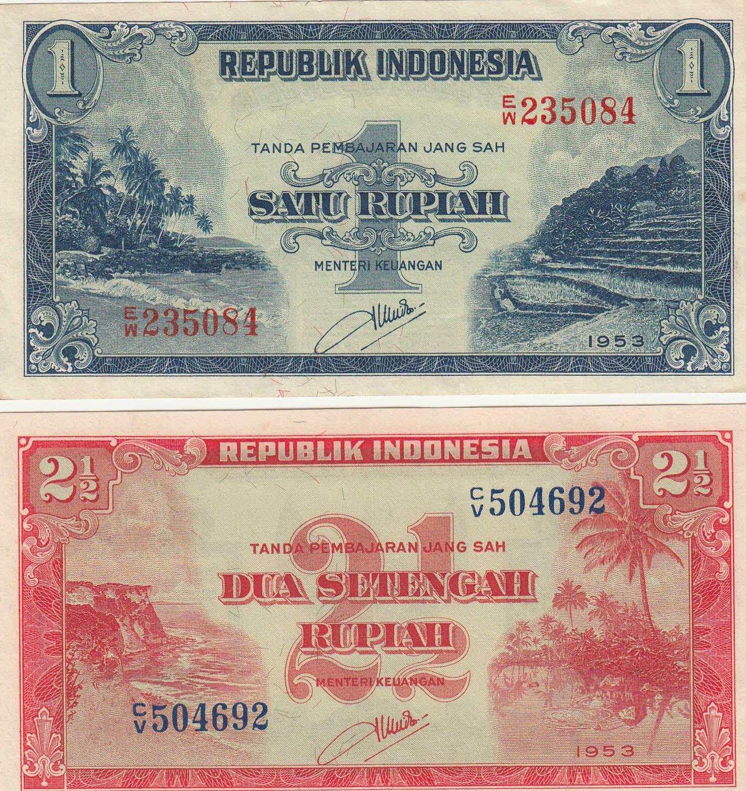 uang kuno seri Pemandangan Alam tahun  1953