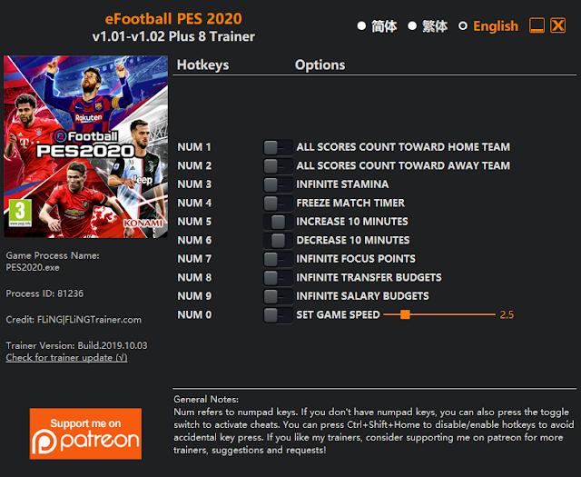 Tampilan Trainer eFootball PES 2020 PC