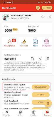 cara memasukan kode rujukan BuzzBreak Cara Menghasilkan Uang dari Aplikasi BuzzBreak Android