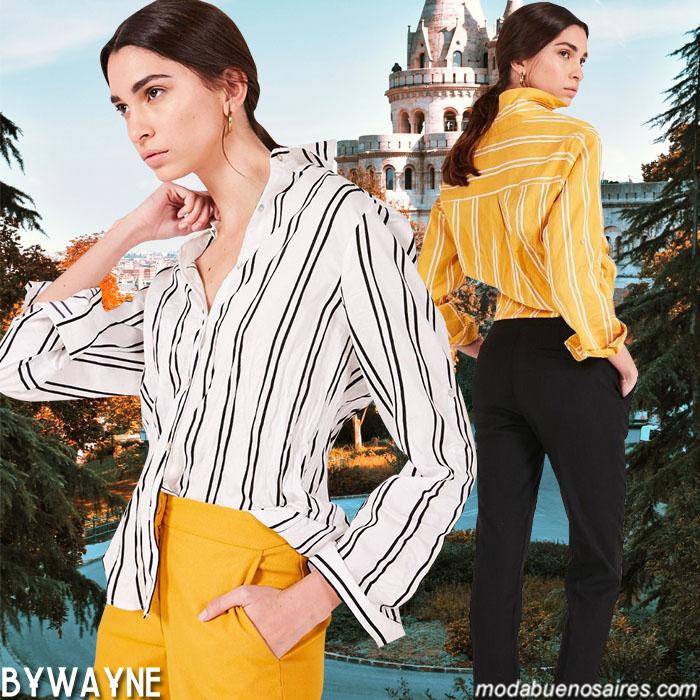 Moda 2020: Ropa de mujer moda primavera verano 2020. Camisas a ryas y pantalones de vestir primavera verano 2020.