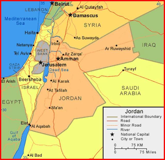 Gambar Peta Yordania