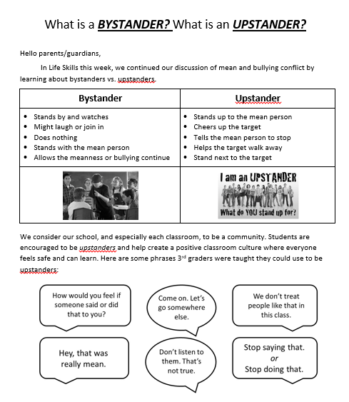 Upstander lesson plan letter to parents/guardians