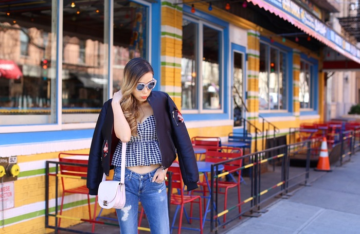 Topshop gingham checker peplum top, AG Jeans, sachin and babi lola bomber jacket, bomber jacket, loeffller Randall bag, quay sunglasses, tory burch wedges, happy hour outfit, cinco de mayo outfit ideas, chanel earrings, nyc fashion blog