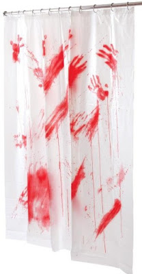 Bloody Shower Curtain decoration, Hitchcock party