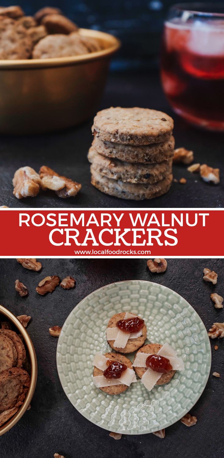 Elevate your virtual happy hour snack time with these easy, healthy vegan rosemary walnut crackers. | Local Food Rocks