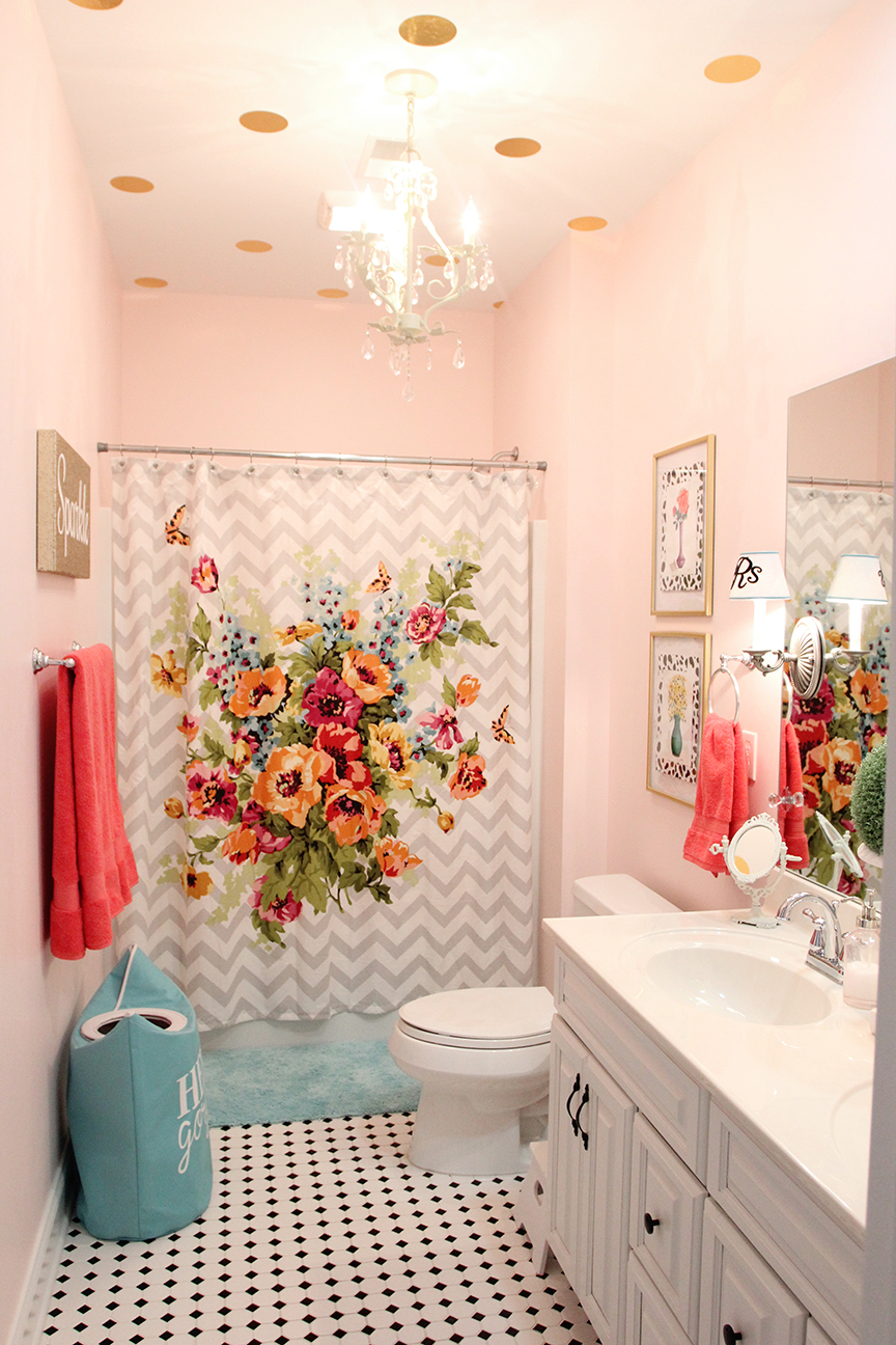 Girls Bathroom Mini Makeover in One Afternoon  Less