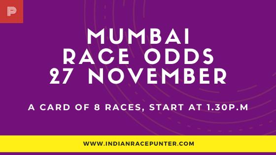 Mumbai Race Odds 27 November, Race Odds