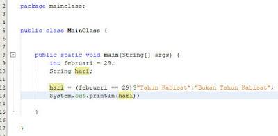 contoh penggunaan operator kondisional java