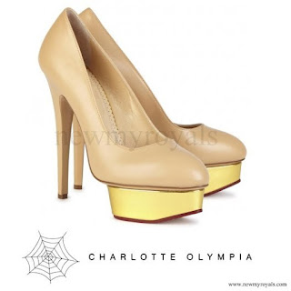 Princess Carolina wore Charlotte Olympia Dolly almond leather pumps