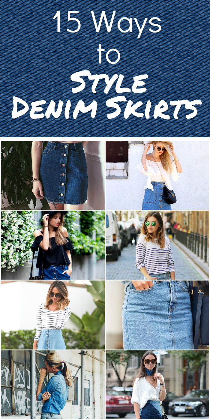 7 Ways To Wear A Denim Skirt Lilliana Vazquez. DENIM ON DENIM – The denim on denim trend has been huge ever since we spotted Rihanna in it looking more chic than ever. – Choose a denim skirt with a chambray or denim top that is one shade lighter or darker than your skirt.