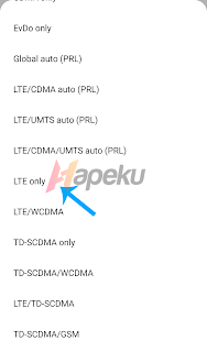 Set Jaringan yang disukai ke LTE Only