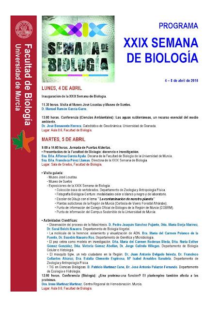 Programa de la XXIX Semana de Biología